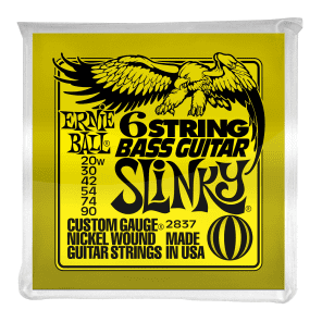 Ernie Ball 2837 Slinky Silhouette Short-Scale 6-String Electric Bass Strings (20w-90)