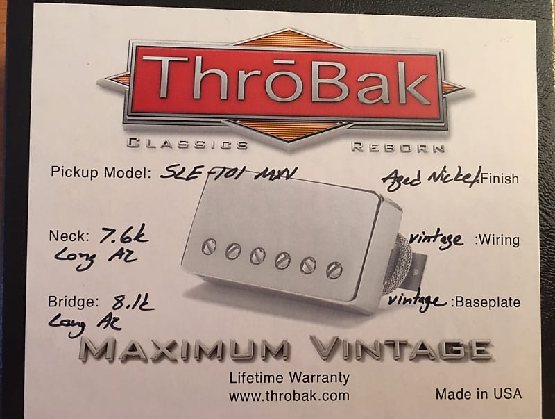 Throbak Sle 101 Classic Paf Style Humbucker Pickup For Gibson Reverb