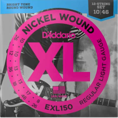 D'Addario EXL150 Nickel Wound 12-String Electric Guitar Strings, Regular Light Gauge