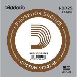 D'Addario PB025 Phosphor Bronze Wound Acoustic Guitar Single String .025