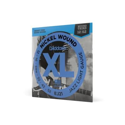 D'Addario EJ21 Electric Guitar Strings Jazz Light Gauge Nickel Wound 12 - 52 Wound Third