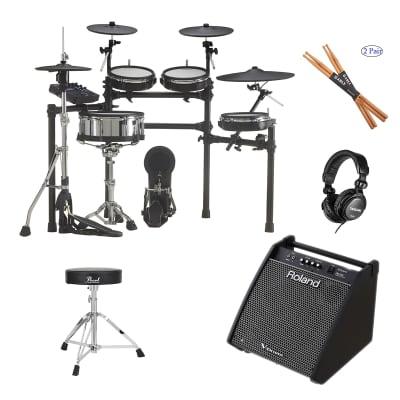 Roland TD-27KV V-Drums Kit - Roland PM-200 - Pearl Throne D50 - TH02 Headphone - Drum Sticks