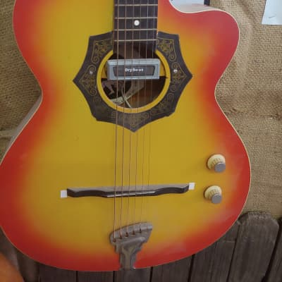 Orpheus Acoustic cut away 1950ties Orange and yellow for sale