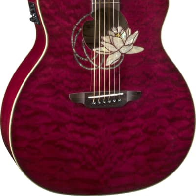 Luna FLO LOT QM Flora Series Lotus Quilted Maple Cutaway Acoustic-Electric Guitar for sale