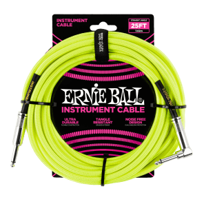 """Ernie Ball P06057 1/4"""" TS Straight to Right-Angle Braided Instrument Cable - 25'"""