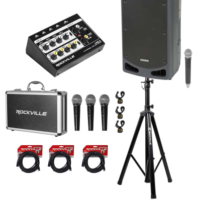 """Samson Expedition XP312W 12"""" PA DJ Speaker+Stand+Mixer+(3) Mics+Case+Cables"""