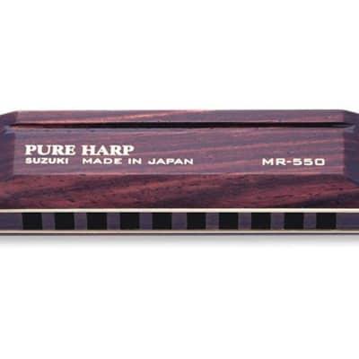 Suzuki Pure Harp Pro Wooden 10 Hole Diatonic Harmonica Key of Eb - MR-550-EB