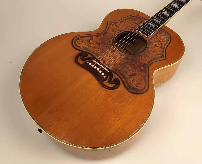 1958 gibson j 200 in natural with full custom leather guard reverb. Black Bedroom Furniture Sets. Home Design Ideas