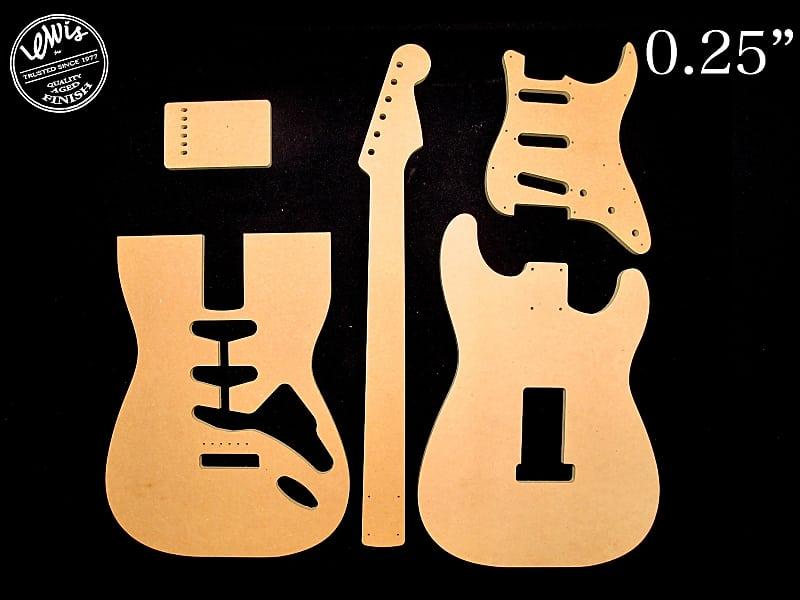 Stratocaster Mdf Guitar Template Set 0 25 Thick Cnc Reverb