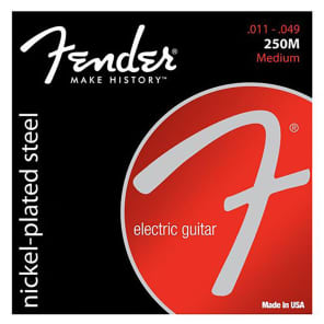 Fender Super 250 Guitar Strings, Nickel Plated Steel, Ball End, 250M Gauges .011-.049, (6) 2016
