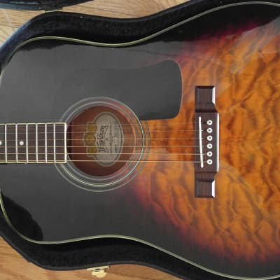 Washburn Dreadnought 10QSB  Sunburst Quilt Top for sale
