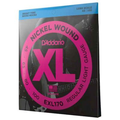 "D'Addario XL - Nickel Wound Electric Bass Guitars Strings - Regular Light (45-100) - Long Scale (34"")"