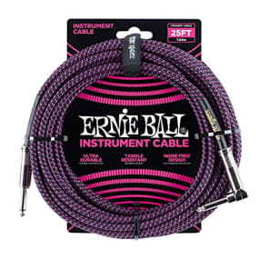 "Ernie Ball P06068 1/4"" TS Straight to Right-Angle Braided Instrument Cable - 25'"