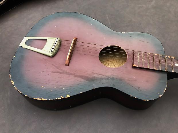 Vintage 1956 Gallo Gallotone Champion Parlor Acoustic Guitar, Strap & Case