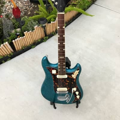 Vintage Japanese Made 1966 Norma EG-470-2  Blue Sparkle Strat Style MIJ Guitar for sale