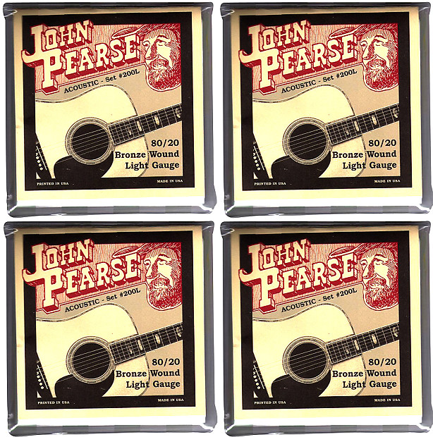 4 SETS Of John Pearse 80/20 Bronze Acoustic Guitar Strings