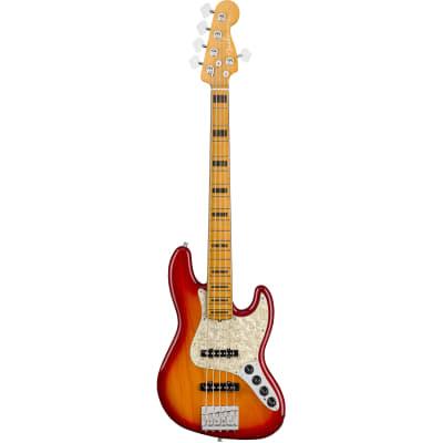 Fender American Ultra Jazz Bass V Plasma Red Burst MN avec étui for sale