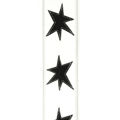 D'Addario L25W1413 Deluxe Leather Guitar Strap, Star Icon Patches, White w/ Black