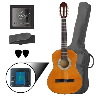 Artist CL34AM 3/4 Size Classical Guitar Pack, Nylon String - Amber for sale