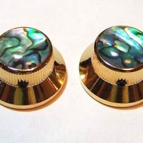 Guitar Parts METAL TOPHAT Skirt KNOBS 1/4inHole - ABALONE TOP - Set of 2 - GOLD