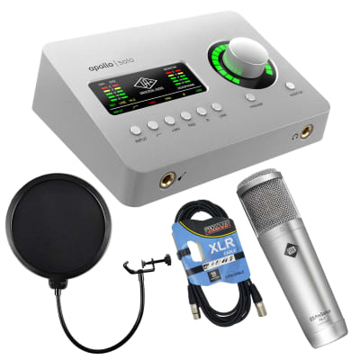 Universal Audio Apollo Solo Heritage Edition – Thunderbolt, Presonus PX-1 Mic, Pop Filter, XLR Cable Bundle