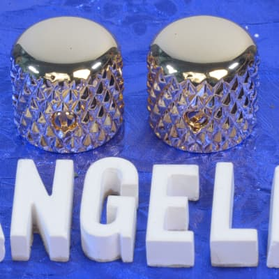"Two Gold Vintage Tele Style Knobs With Super Heavy Knurling For 1/4"" Solid Shaft CTS Pots NEW!"
