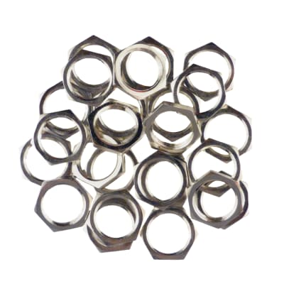 """Nickel M9 Metric 1/4"""" Input Output Jack Replacement Nuts - Pedal Guitar Amp - 25 Pack Made In Japan"""