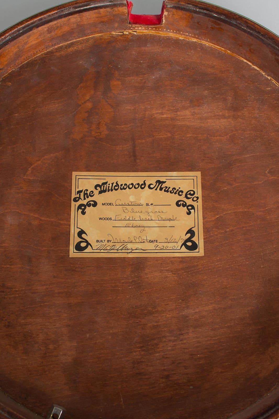 Wildwood  Custom Bluegrass 5 String Banjo (1971), black hard shell case.