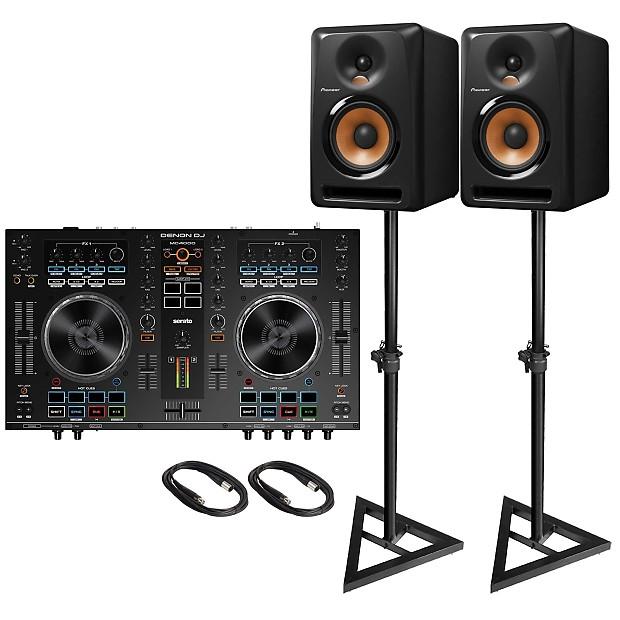 Denon DJ MC4000 2-Channel Professional Serato Controller (2) Pioneer BULIT5  5″ Active Studio Monitor