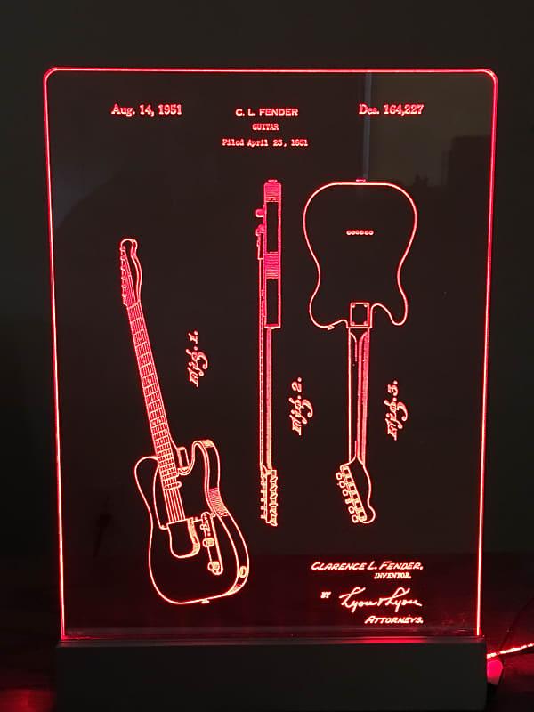 Fender Telecaster Guitar Patent Edge Lit Acrylic Led Sign
