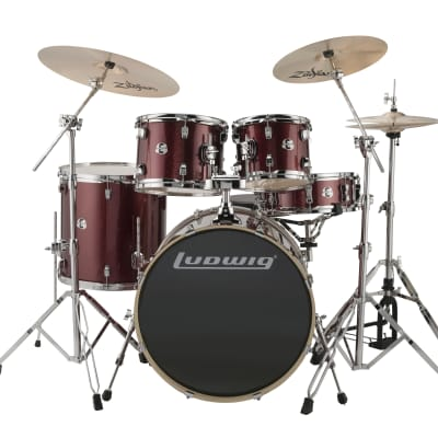 "Ludwig Evolution 5pc.  Drumkit w/22"" BD, Hardware and Zildjian ZBT Cymbals-Red Sparkle"