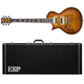 ESP LTD EC-1000FM ASB Amber Sunburst Deluxe Left Handed + ESP HARD CASE! for sale