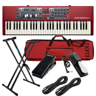 Nord Electro 6D 61-Note Semi-Weighted Keyboard, Nord Soft Case, Nektar NX-P, Sustain Pedal, Nektar NP-1, Keyboard Stand, 2x 1/4 Cable Bundle
