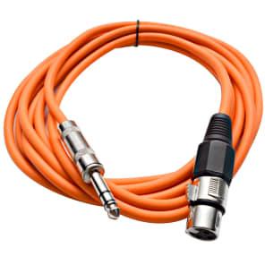 "Seismic Audio SATRXL-F10ORANGE XLR Female to 1/4"" TRS Male Patch Cable - 10'"