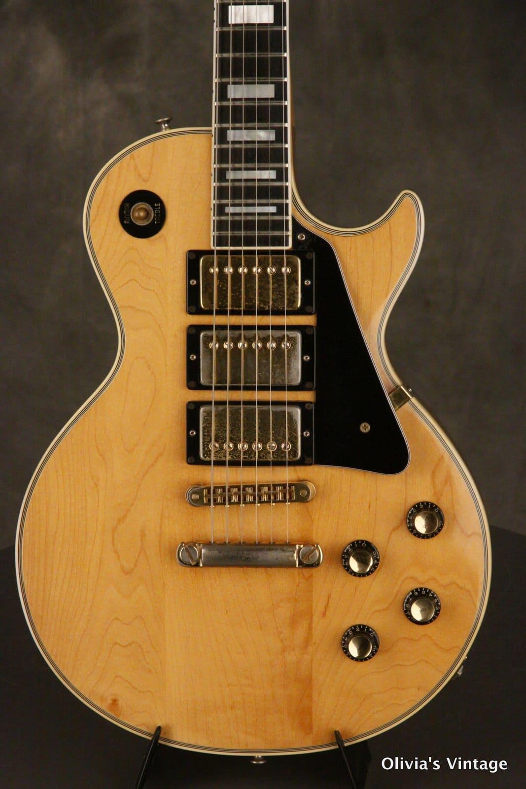 Gibson Les Paul Custom 3 Pickups 1976 Natural Reverb