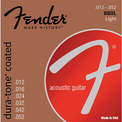 Fender 880L Dura-Tone Coated Acoustic Guitar Strings - LIGHT 12-52 for sale