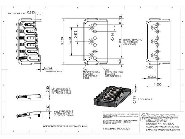 new hipshot fixed 125 hardtail electric guitar bridge made reverb. Black Bedroom Furniture Sets. Home Design Ideas