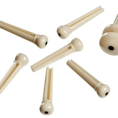 Planet Waves Injected Molded Acoustic Guitar Bridge Pins Ivory with Ebony Dot
