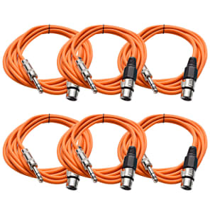 """Seismic Audio SATRXL-F10ORANGE6 XLR Female to 1/4"""" TRS Male Patch Cables - 10' (6-Pack)"""