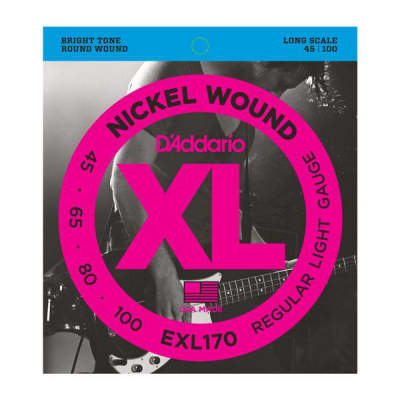 NEW D'Addario EXL170 Nickel Wound Bass Strings - Regular Light - .045-.100