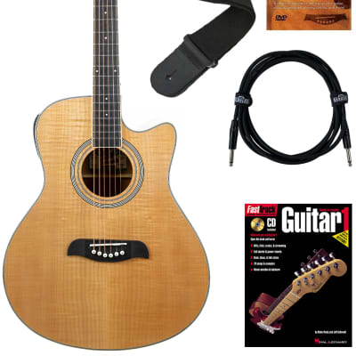 Oscar Schmidt OA10CE Mini Auditorium Cutaway Acoustic-Electric Guitar - Natural Bundle with Cable, Tuner, Strap, Picks, Instructional Book, DVD, and Austin Bazaar Polishing Cloth for sale