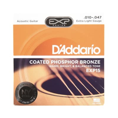 D'Addario EXP15 Coated Acoustic Phosphor Bronze Extra Light 10-47
