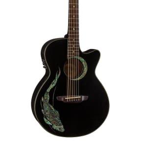 Luna Fauna folk Acoustic Guitar Abalone Koi on black FAU KOI for sale