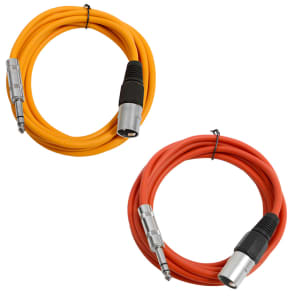 """Seismic Audio SATRXL-M10-ORANGERED 1/4"""" TRS Male to XLR Male Patch Cables - 10' (2-Pack)"""