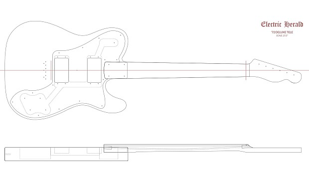 Guitar Template Set - Fender Telecaster Deluxe (1/2\