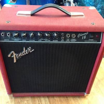 1980's Red Tolex Fender Champ 12 All Tube Amp Rivera Era Clean & Sounds Great! for sale