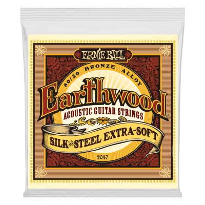 Ernie Ball 2047 Earthwood 80/20 Bronze Silk And Steel Extra Soft Acoustic Guitar Strings (10-50)