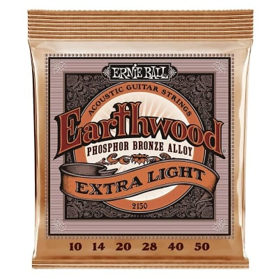 Ernie Ball Earthwood Phosphor Bronze Acoustic Guitar Strings 10-50 Gauge - Extra Light