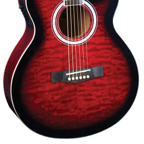 Indiana MAD-QTRD Madison Deluxe Concert Cutaway 6-String Acoustic-Electric Guitar - Quilt Red for sale
