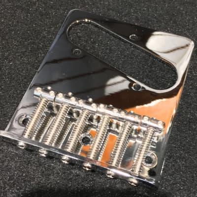 Mighty Mite Telecaster 6 Saddle Bridge Plate  Chrome for sale